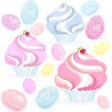Il muffin eggs il rosa Immagini Stock Libere da Diritti