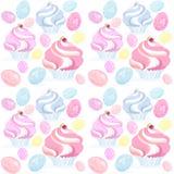 Il muffin eggs il rosa senza cuciture Immagine Stock