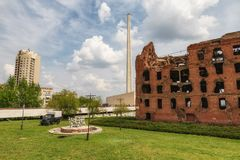 Il mulino di rovine del Gerhardt del oof che rimane dopo il bombardamento Stalingrad immagini stock libere da diritti