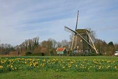 Il mulino a vento in campagna olandese Fotografie Stock Libere da Diritti