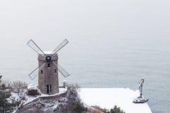 Il mulino a vento della spiaggia Fotografia Stock