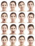 Il multiplo affronta le espressioni Immagine Stock Libera da Diritti