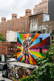 Il murale dall'artista Kobra in Chelsea ha osservato dall'alta linea Immagine Stock