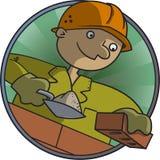 Il muratore costruisce una parete dei mattoni Immagini Stock