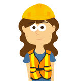 Il muratore, donna si è vestito nei vestiti da lavoro e nel vettore della sicurezza Fotografie Stock