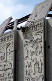 Il muro di cemento di sbriciolatura calcola il fondo Immagini Stock