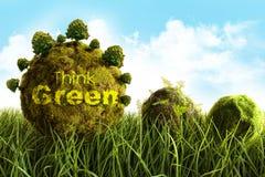 Il muschio ha coperto le sfere che risiedono nell'erba alta Fotografia Stock