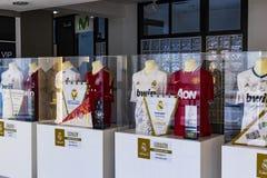 Il museo del club di calcio di Real Madrid foggia a coppa ed assegna il club Immagine Stock Libera da Diritti