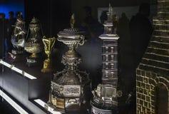 Il museo del club di calcio di Real Madrid foggia a coppa ed assegna il club Fotografia Stock