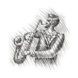 Il musicista gioca il sassofono Musica in diretta, schizzo musicale di festival Jazz, illustrazione di vettore dei blu royalty illustrazione gratis