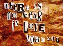 Il n'y a aucune crainte dans l'amour - 4:18 de John Photographie stock libre de droits