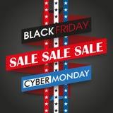 Il nastro cyber di Black Friday lunedì Stars le bande Immagine Stock Libera da Diritti