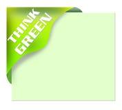 Il nastro d'angolo verde con pensa il verde Immagine Stock Libera da Diritti