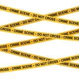 Il nastro di giallo della scena del crimine, linea di polizia non attraversa il nastro Fotografia Stock
