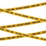 Il nastro di giallo della scena del crimine, linea di polizia non attraversa la linea di fuoco nastro Fumetto stile piana Illustr Fotografie Stock Libere da Diritti