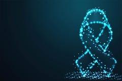il nastro digitale, il simbolo del cancro al seno, Giornata mondiale contro l'AIDS, poli del cavo dell'estratto, maglia poligonal illustrazione di stock