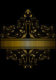 Il nastro dorato punteggiato ha incorniciato il modello dei riccioli e delle perle dorati con una corona Fotografia Stock
