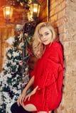 Il Natale adatta il maglione sexy della bionda della donna in rosso, divertendosi e posando contro l'inverno dell'albero di Natal immagini stock