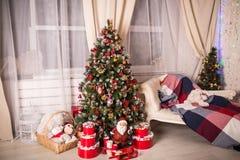 Il Natale alloggia con l'albero di Natale Fotografia Stock