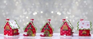 Il Natale alloggia decorato con la glassa multicolore Fotografia Stock Libera da Diritti