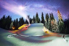 Il Natale alloggia nei Carpathians Immagini Stock