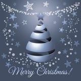 Il Natale argenta l'albero di nastro, illustrazione di saluto di vettore Immagine Stock