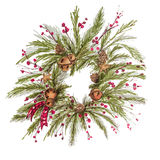 Il Natale avvolge la decorazione d'annata del nuovo anno con i rami del pino, bacche, coni di abete Immagini Stock