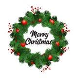 Il Natale avvolge le decorazioni con l'albero di abete, gli archi barrati, le pigne, le bacche dell'agrifoglio e gli elementi dec illustrazione di stock