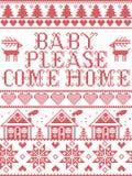 Il Natale il bambino del modello che viene prego modello senza cuciture del canto natalizio domestico ha ispirato entro l'inverno royalty illustrazione gratis