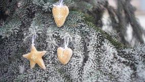 Il Natale beige del tessuto gioca sul ramo nevoso dell'abete nel parco dell'inverno archivi video