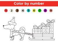 Il Natale colora dal numero per i bambini della scuola e della scuola materna Fotografia Stock