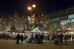 Il Natale commercializza al quadrato di Vorosmarty a Budapest, Ungheria Fotografie Stock