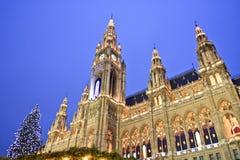 Il Natale commercializza, Vienna Rathaus, Austria Immagini Stock Libere da Diritti