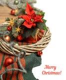 Il Natale confina con la stella di Natale e le decorazioni di Natale sul wo Fotografia Stock Libera da Diritti