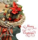 Il Natale confina con la stella di Natale e le decorazioni di Natale sul wo Immagine Stock Libera da Diritti