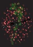 Il Natale copre di foglie con il Natale fondo ed il vettore della cartolina d'auguri Illustrazione Vettoriale