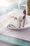 Il Natale decorato elegante presenta la regolazione con le decorazioni moderne della coltelleria, del tovagliolo, dell'arco e di  Immagine Stock Libera da Diritti