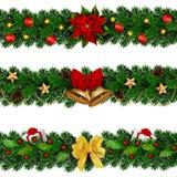 Il Natale dei seamles di vettore ha decorato le ghirlande Immagini Stock Libere da Diritti