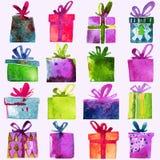 Il Natale dell'acquerello ha messo con i contenitori di regalo, su fondo bianco Fotografia Stock Libera da Diritti