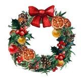 Il Natale dell'acquerello si avvolge con le palle di natale, il misletoe di pinecone ed i rami degli alberi di Natale immagini stock
