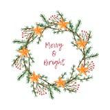 Il Natale dell'acquerello si avvolge con il ramo e le stelle royalty illustrazione gratis