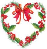 Il Natale dell'inverno dell'acquerello si avvolge con il vischio, le bacche e l'albero di Natale Fotografia Stock