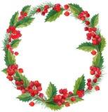 Il Natale dell'inverno dell'acquerello si avvolge con il vischio, le bacche e l'albero di Natale Fotografie Stock