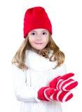 Il natale della ragazza del bambino copre l'allungamento delle mani vuote isolate Fotografia Stock Libera da Diritti