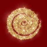Il Natale dorato dell'estratto di vettore del cerchio di scintillio dell'oro struttura il rosso Fotografia Stock Libera da Diritti