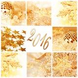 2016, il natale dorato orna la carta quadrata del collage Fotografia Stock