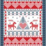 Il Natale e l'inverno festivo quadrano il modello nello stile trasversale del punto con l'albero di natale, renna, cuori, fiocchi Fotografie Stock