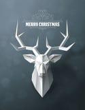 Il Natale ed i nuovi anni di fondo con i cervi di carta si dirigono illustrazione vettoriale