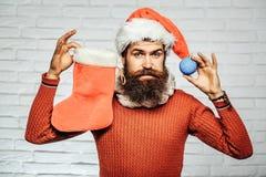 Il Natale equipaggia con la calza decorativa Fotografie Stock Libere da Diritti