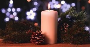 Il Natale esamina in controluce con le pigne e l'albero di abete stock footage